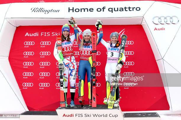 Petra Vlhova of Slovakia Mikaela Shiffrin of the United States and Bernadette Schild of Austria celebrate on the medals podium after the Slalom...