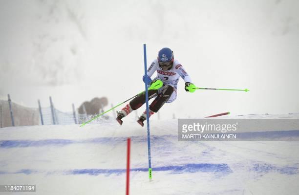 Petra Vlhova of Slovakia races during the first run of the FIS Alpine Ski World Cup women's slalom event at the Levi ski resort in Kittilä Finnish...