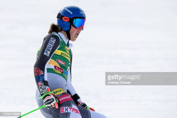 Petra Vlhova of Slovakia reacts in the finish area during the Women's Giant Slalom of the Audi FIS Alpine Ski World Cup on October 17, 2020 in...