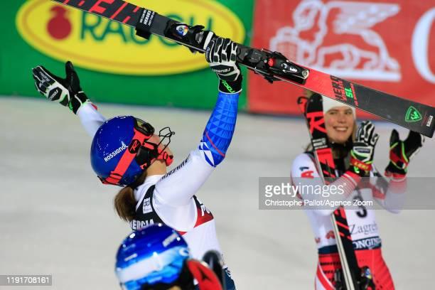 Petra Vlhova of Slovakia takes 1st place during the Audi FIS Alpine Ski World Cup Women's Slalom on January 4, 2020 in Zagreb Croatia.