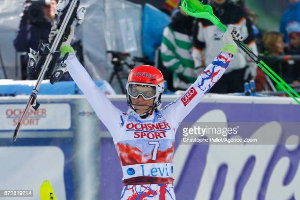 Petra Vlhova of Slovakia takes 1st place during the Audi FIS Alpine Ski World Cup Women's Slalom on November 11 2017 in Levi Finland