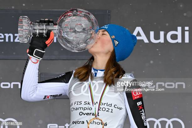 Petra Vlhova of Slovakia takes 1st place in the overall standings during the Audi FIS Alpine Ski World Cup Women's on March 21, 2021 in Lenzerheide,...