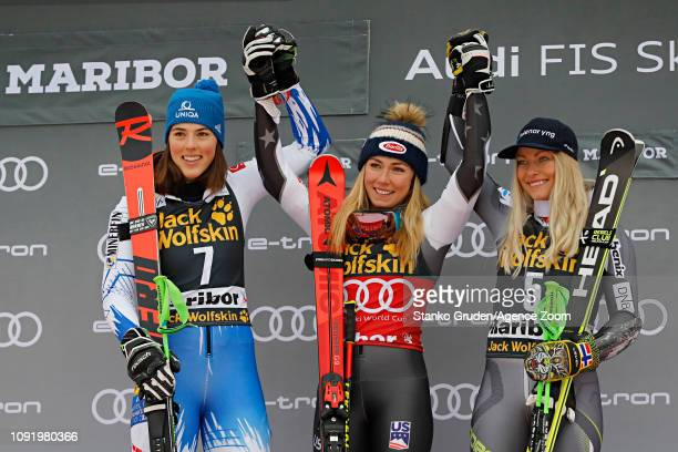 Petra Vlhova of Slovakia takes 1st place Mikaela Shiffrin of USA takes 1st place Ragnhild Mowinckel of Norway takes 3rd place during the Audi FIS...