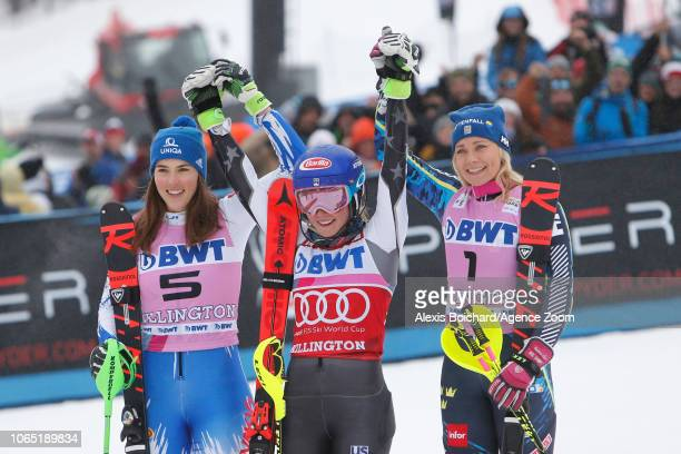 Petra Vlhova of Slovakia takes 2nd place Mikaela Shiffrin of USA takes 1st place Frida Hansdotter of Sweden takes 3rd place during the Audi FIS...