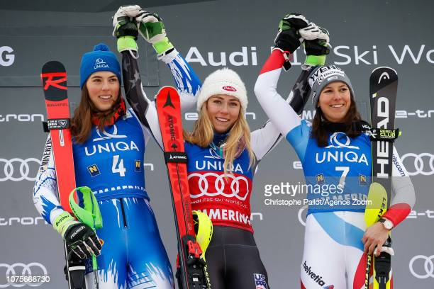 Petra Vlhova of Slovakia takes 2nd place Mikaela Shiffrin of USA takes 1st place Wendy Holdener of Switzerland takes 3rd place during the Audi FIS...