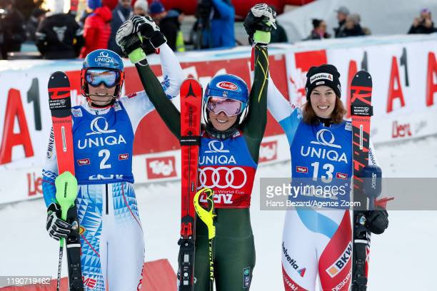 Petra Vlhova of Slovakia takes 2nd place Mikaela Shiffrin of USA takes 1st place Michelle Gisin of Switzerland takes 3rd place during the Audi FIS...