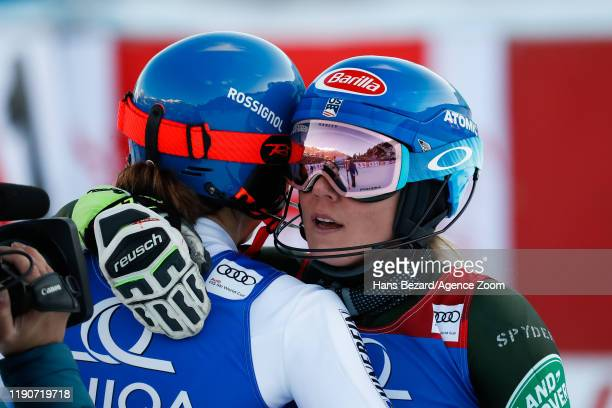 Petra Vlhova of Slovakia takes 2nd place, Mikaela Shiffrin of USA takes 1st place during the Audi FIS Alpine Ski World Cup Women's Slalom on December...