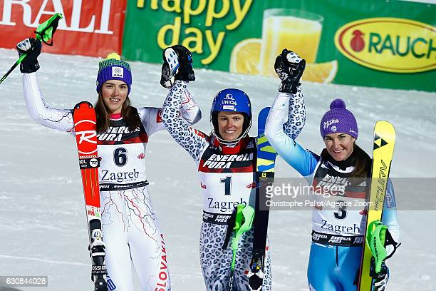 Petra Vlhova of Slovakia takes 2nd place Veronika Velez Zuzulova of Slovakia takes 1st place Sarka Strachova of Czech Republic takes 3rd place during...