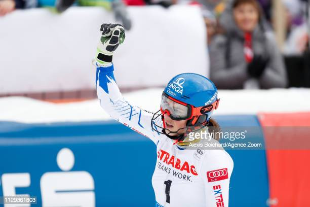Petra Vlhova of Slovakia takes 3rd place during the Audi FIS Alpine Ski World Cup Women's Slalom on March 9 2019 in Spindleruv Mlyn Czech Republic