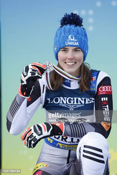 Petra Vlhova of Slovakia wins the silver medal during the FIS Alpine Ski World Championships Women's Alpine Combined on February 15, 2021 in Cortina...
