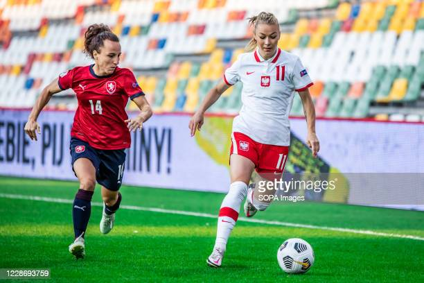 Petra Vystejnova of Czech Republic and Weronika Zawistowska of Poland are seen in action during the UEFA Women's EURO 2021 qualifying match between...