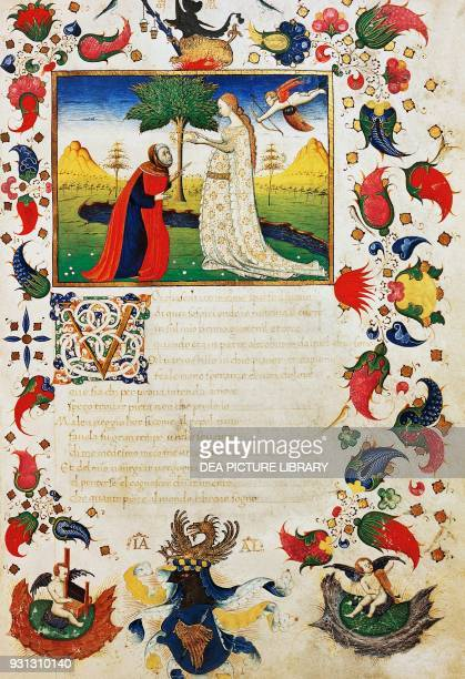 Petrarca hit by Cupid's arrow and wearing a laurel crown introduction to the sonnet You who hear the sound in scattered rhymes from Trionfi by...
