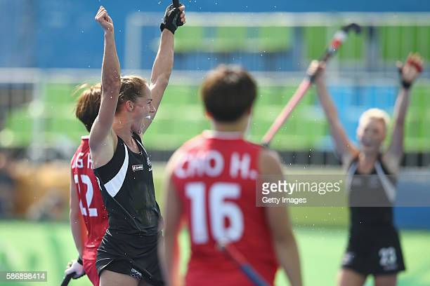 Petrea Webster of New Zealand celebrates scoring a goal during the women's pool A match between New Zealand and the Republic of Korea on Day 2 of the...