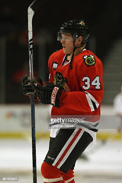 Petri Kontiola of the Chicago Blackhawks looks on against the Phoenix Coyotes on February 27 2008 at the United Center in Chicago Illinois