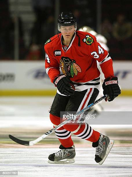 Petri Kontiola of the Chicago Blackhawks skates during warmups before a game against the Phoenix Coyotes on February 27 2008 at the United Center in...