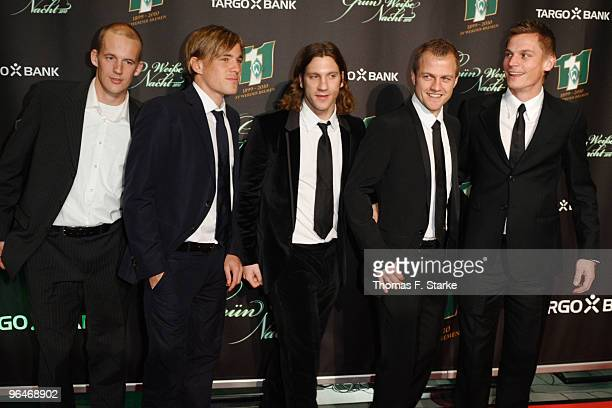 Petri Pasanen Clemens Fritz Torsten Frings Daniel Jensen and Markus Rosenberg pose during the Werder Bremen Green White Night 2010 at the Congress...