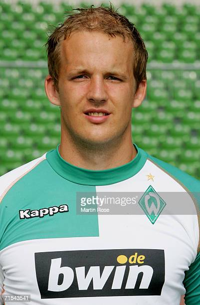 Petri Pasanen poses during the Bundesliga 1st Team Presentation of SV Werder Bremen at the Weser Stadium on July 29 2006 in Bremen Germany