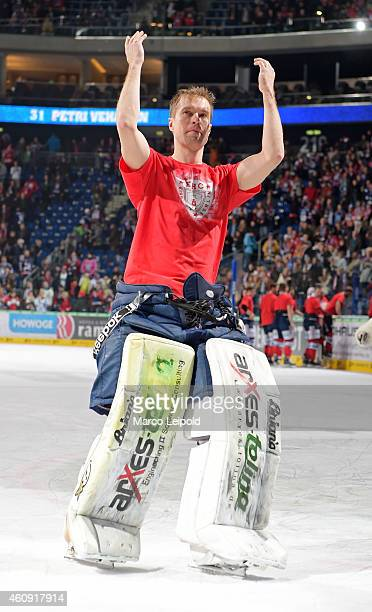 Petri Vehanen of the Eisbaeren Berlin celebrates the home victory with the fans during the game between Eisbaeren Berlin and ERC Ingolstadt on...