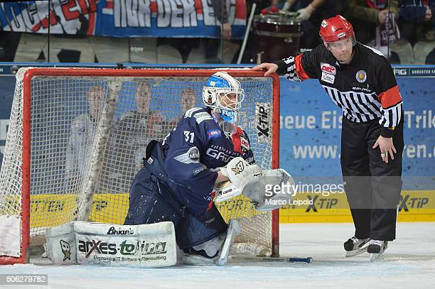 Petri Vehanen of the Eisbaeren Berlin during the DEL game between the Eisbaeren Berlin and Duesseldorfer EG on January 22 2016 in Berlin Germany