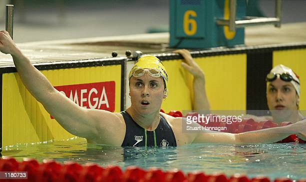 Petria Thomas of Australia after winning her heat in the Womens 200m Freestyle at the Aquatics Centre during the 2002 Commonwealth Games in...