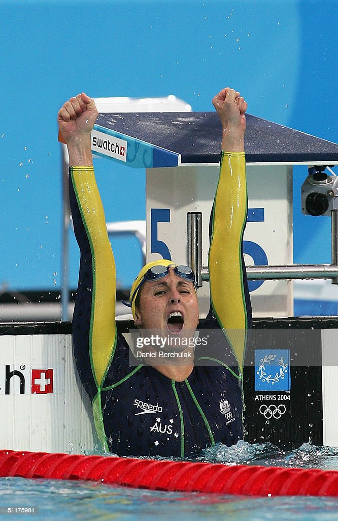 Petria Thomas of Australia celebrates winning gold in the women's swimming 100 metre butterfly final on August 15, 2004 during the Athens 2004 Summer Olympic Games at the Main Pool of the Olympic Sports Complex Aquatic Centre in Athens, Greece.