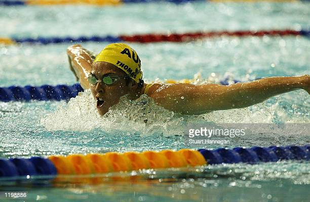 August 1: Petria Thomas of Australia in the Women's 100M Butterfly swimming semi-final from the Manchester Aquatics centre during the 2002...