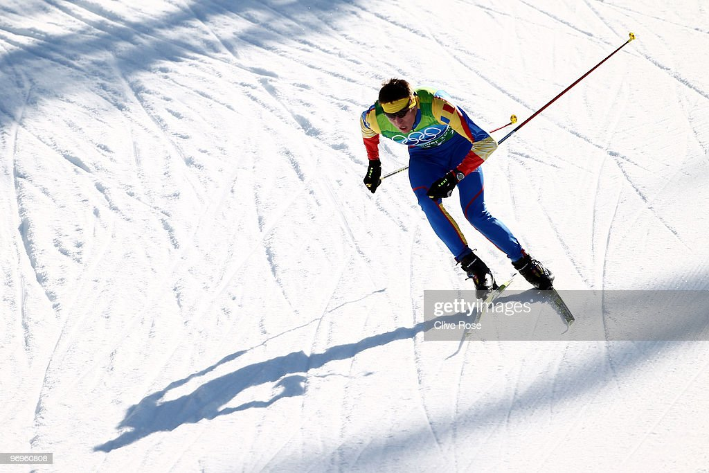 Petrica Hogiu of Romania competes during the cross country skiing men's team sprint semifinal 2 on day 11 of the 2010 Vancouver Winter Olympics at Whistler Olympic Park Cross-Country Stadium on February 22, 2010 in Whistler, Canada.