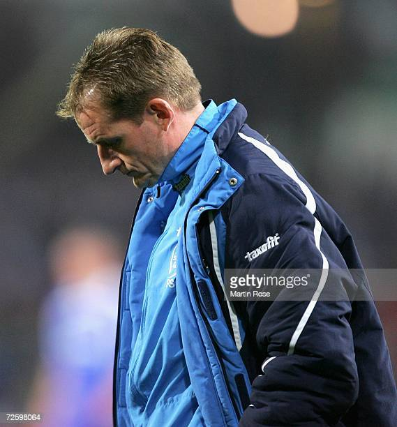 Petrik Sander, headcoach of Cottbus, looks dejected during the Bundesliga match between Energie Cottbus and Schalke 04 at the stadium der...
