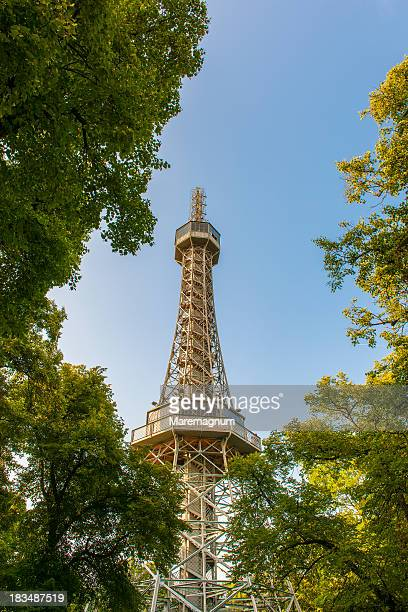 petrin park lookout tower - lookout tower stock pictures, royalty-free photos & images