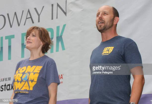 Petrina Bromley and Geno Carr from the cast of 'Come From Away' performs at 1067 LITE FM Broadway in Bryant Park on July 26 2018 in New York City