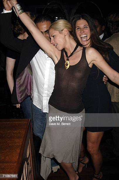 Petrina Khashoggi and Elizabeth Saltzman attend a party thrown to welcome actress and singer Juliette Lewis to London at the Volstead Club on May 31...