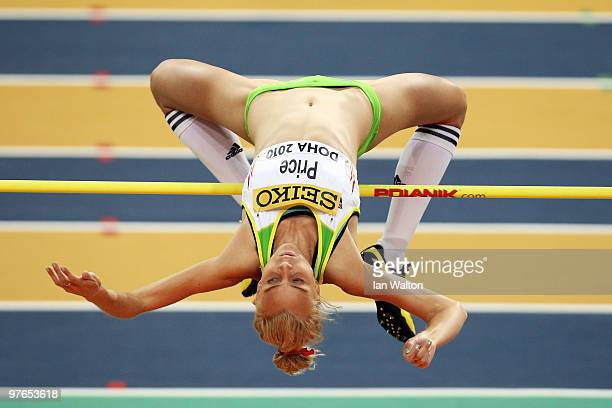 Petrina Price of Australia competes in the Womens High Jump Qualification during Day 1 of the IAAF World Indoor Championships at the Aspire Dome on...