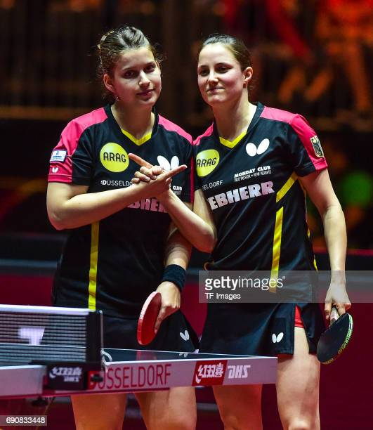 Petrissa Solja of Germany and Sabine Winter of Germany in action during the Table Tennis World Championship at Messe Duesseldorf on May 30, 2017 in...