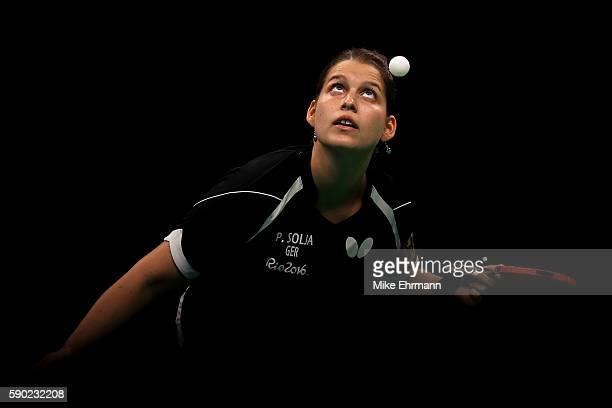 Petrissa Solja of Germany plays a match against Shiwen Liu of China in the Women's Team Gold Medal Team Match between China and Germany on Day 11 of...