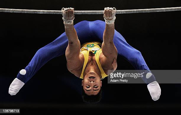Petrix Stevan Aguiar Barbosa of Brazil competes on the Horizontal Bar aparatus in the Men's qualification during day three of the Artistic Gymnastics...