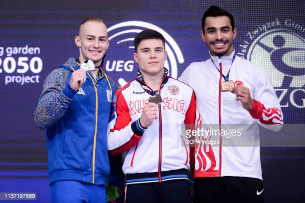 Petro Pakhniuk from Ukraine Nikita Nagornyy from Russia and Ferhat Arican from Turkey are seen posing with medals at the award ceremony of the...