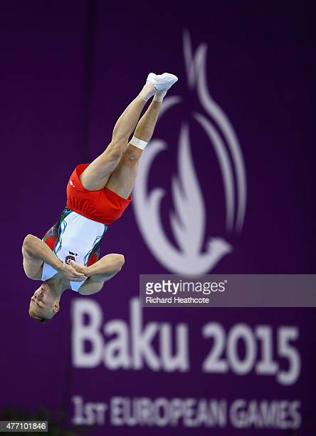 Petro Paknyuk of Azerbaijan compeates on the floor during day two of the Baku 2015 European Games at National Gymnastics Arena on June 14 2015 in...