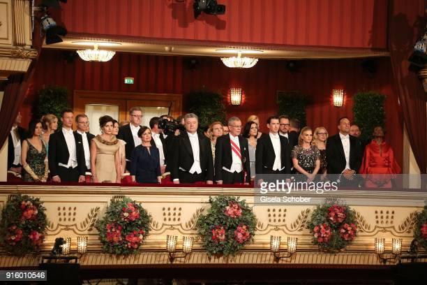 Petro Poroschenko Alexander Van der Bellen Chancellor of Austria Sebastian Kurz and his girlfriend Susanne Thier Waris Dirie during the Opera Ball...