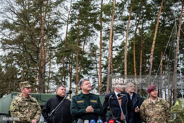 Petro Poroshenko the Ukrainian president speaks during opening ceremony of UkrainianUS Exercise Fearless Guardian at International peacekeeping and...