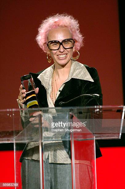 Petro Zillia's Nony Tochterman speaks at the LA Fashion Awards at the Orpheum Theatre on October 21 2005 in Los Angeles California