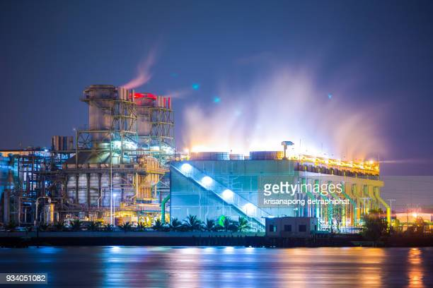 Petrochemical industrial plant power station at sunset and ,view,Amata City Industrial Thailand.