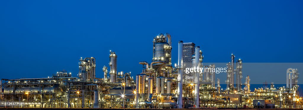 Petrochemical Plant At Dusk : Stock Photo