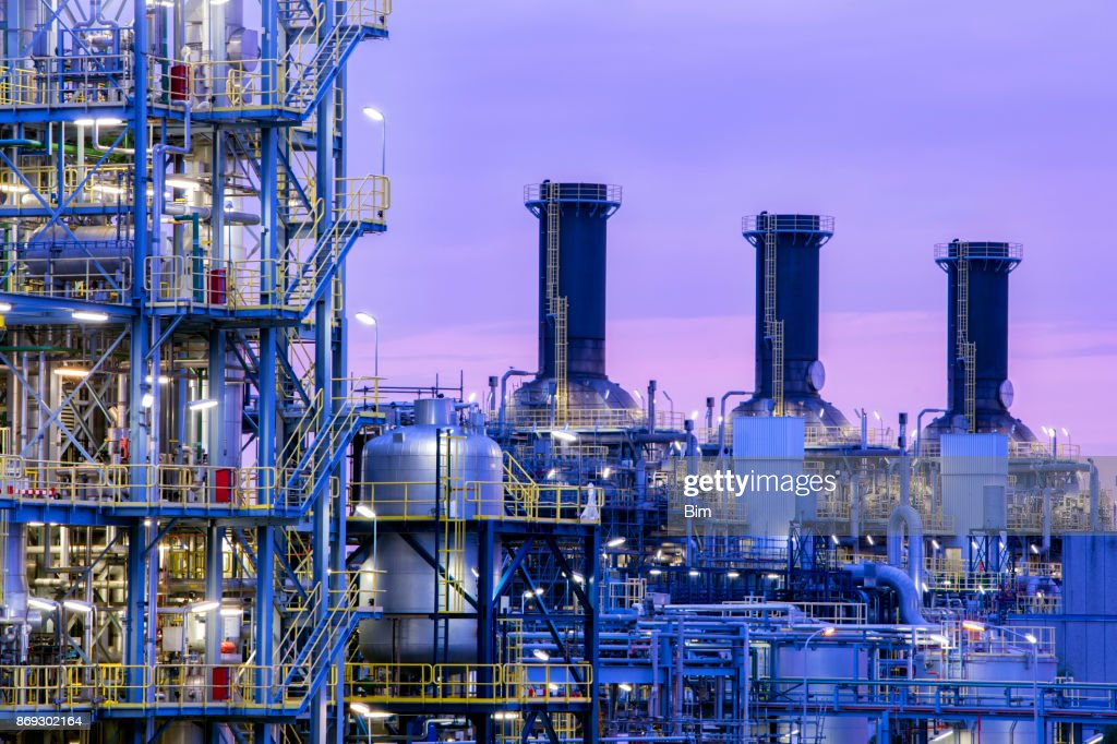 Petrochemical plant at twilight : Stock Photo