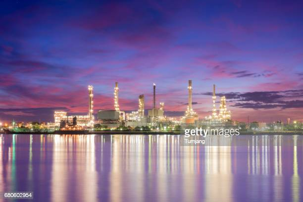 Petrochemical plant in night time with reflection