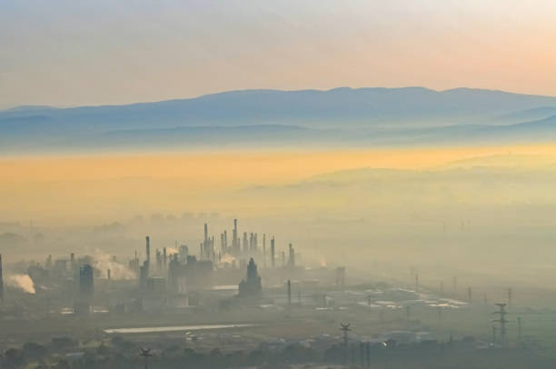 Petrochemical plant in smog