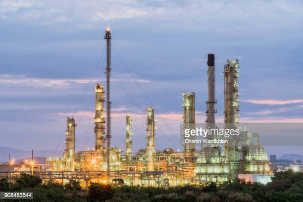 Petrochemical plant (oil refinery) industry with twilight