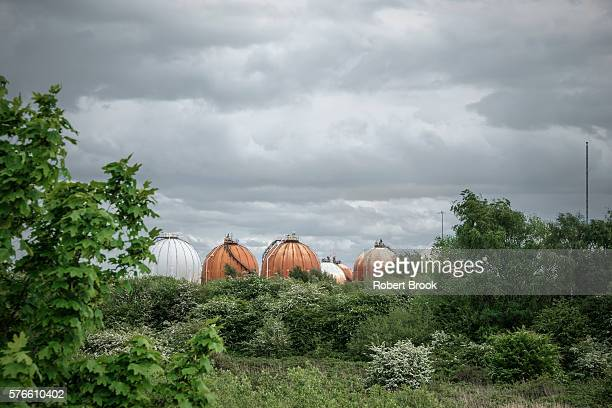 petrochemical storage tanks behind trees - hydrocarbon stock pictures, royalty-free photos & images