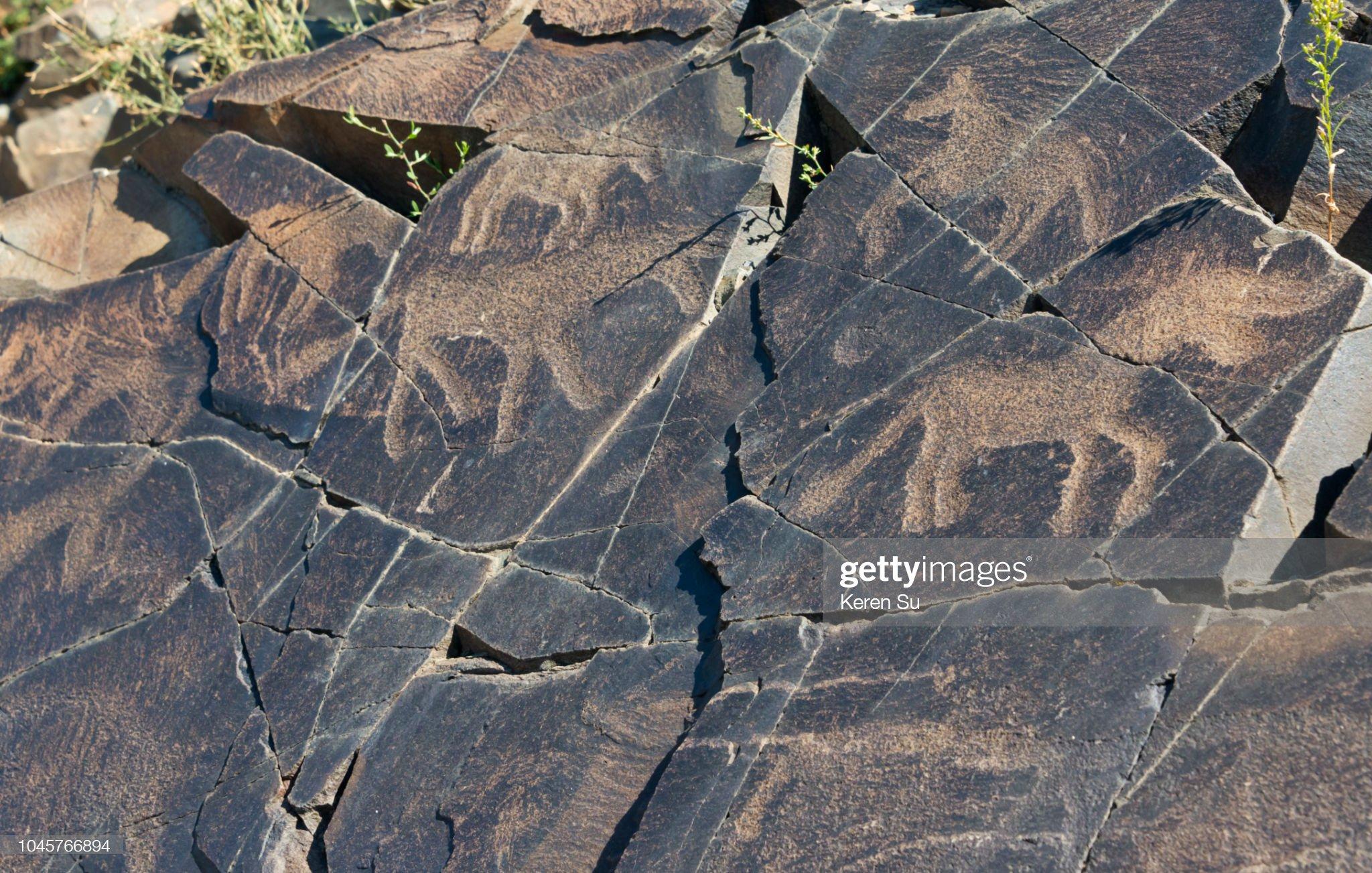 Petroglifo a Tamgaly, patrimonio mondiale dell'UNESCO, Kazakistan: Foto stock