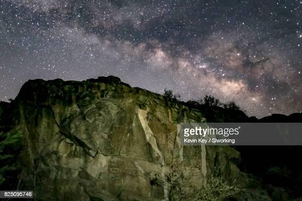 Petroglyphs and Milky Way at Corn Springs