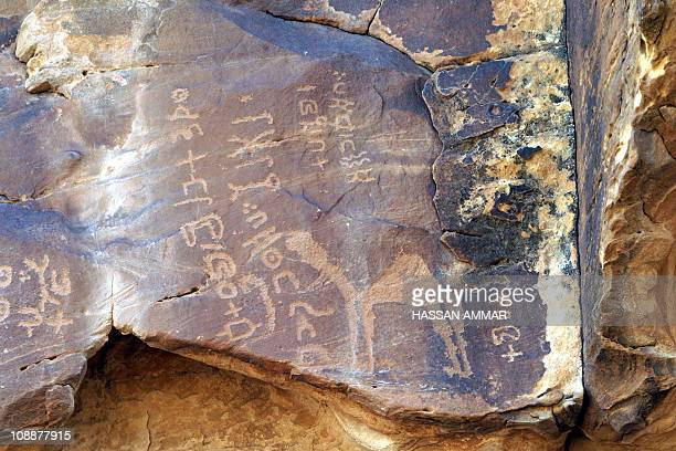 Petroglyphs are seen in the mountains on the northern side of the Saudi city of Hael around 700 kms north of downtown Riyadh 02 June 2007 Known for...